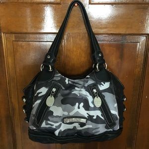 Kathy Van Zeeland black and grey camo bag